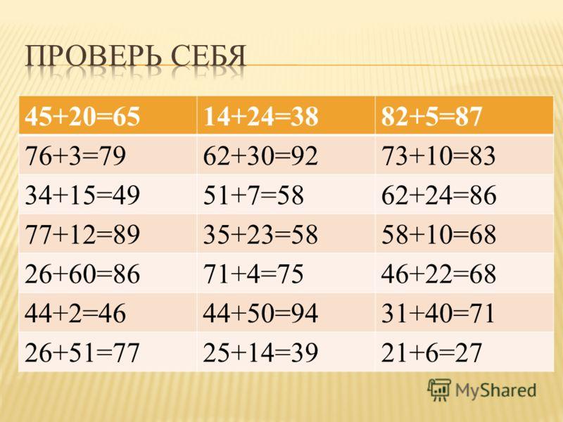 45+20=6514+24=3882+5=87 76+3=7962+30=9273+10=83 34+15=4951+7=5862+24=86 77+12=8935+23=5858+10=68 26+60=8671+4=7546+22=68 44+2=4644+50=9431+40=71 26+51=7725+14=3921+6=27