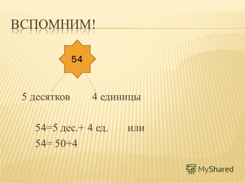 5 десятков 4 единицы 54=5 дес.+ 4 ед. или 54= 50+4 54