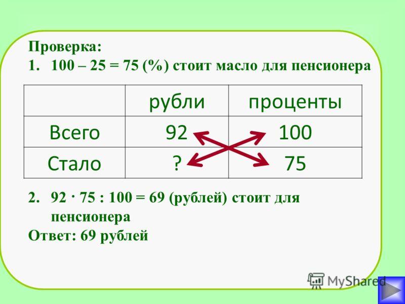 Проверка: 1.100 – 25 = 75 (%) стоит масло для пенсионера 2.92 · 75 : 100 = 69 (рублей) стоит для пенсионера Ответ: 69 рублей рублипроценты Всего92100 Стало?75