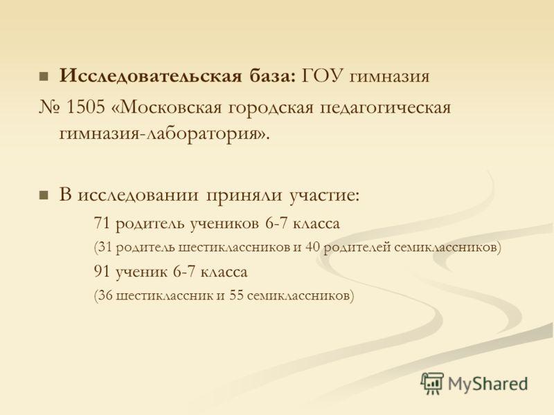 Исследовательская база: ГОУ гимназия 1505 «Московская городская педагогическая гимназия-лаборатория». В исследовании приняли участие: 71 родитель учеников 6-7 класса (31 родитель шестиклассников и 40 родителей семиклассников) 91 ученик 6-7 класса (36