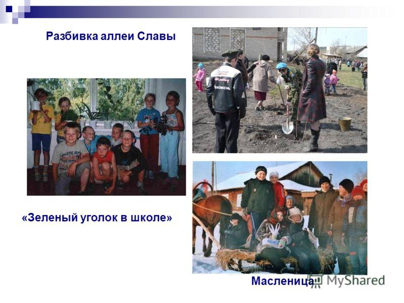 Разбивка аллеи Славы «Зеленый уголок в школе» Масленица