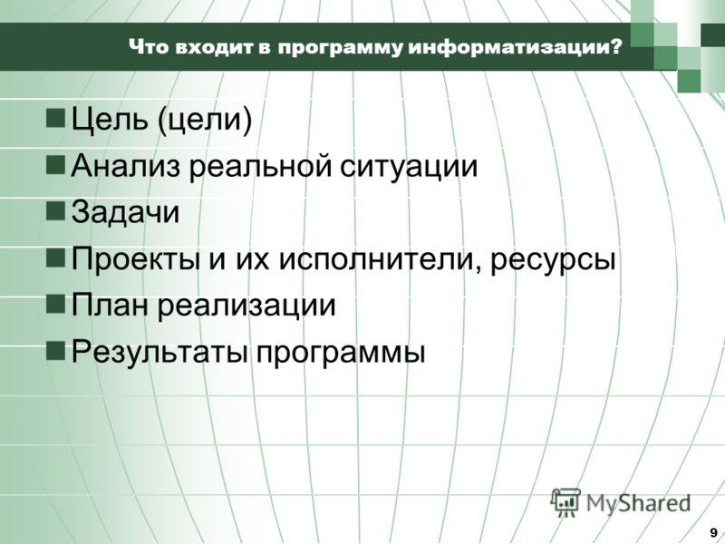 Что входит в программу информатизации? Цель (цели) Анализ реальной ситуации Задачи Проекты и их исполнители, ресурсы План реализации Результаты программы 9