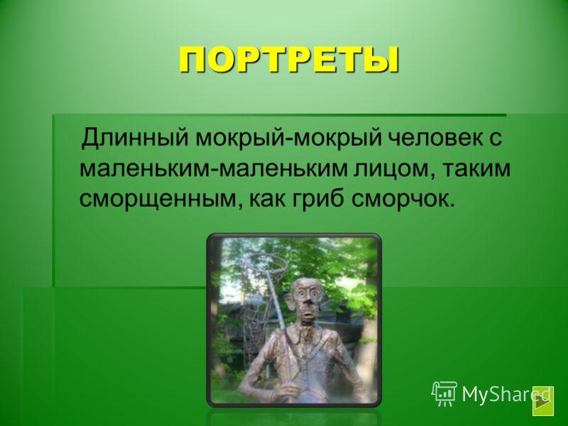 ПОРТРЕТЫ Длинный мокрый-мокрый человек с маленьким-маленьким лицом, таким сморщенным, как гриб сморчок.