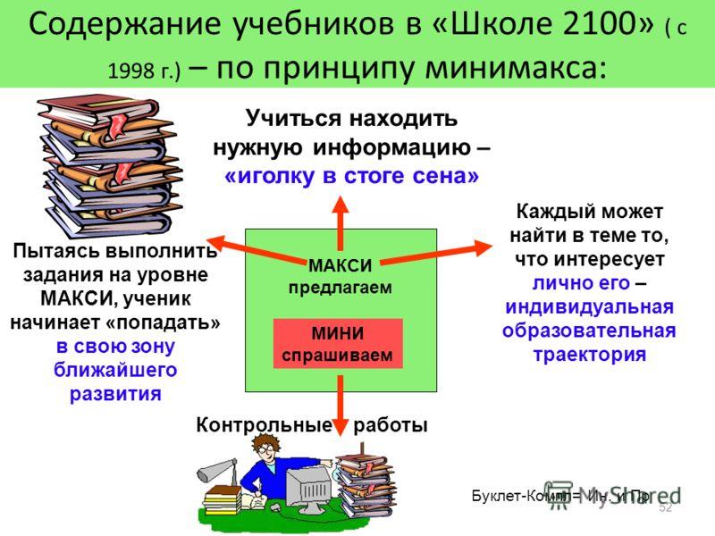 52 Содержание учебников в «Школе 2100» ( с 1998 г.) – по принципу минимакса: Учиться находить нужную информацию – «иголку в стоге сена» МИНИ спрашиваем МАКСИ предлагаем Пытаясь выполнить задания на уровне МАКСИ, ученик начинает «попадать» в свою зону