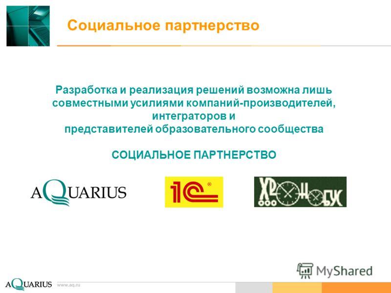www.aq.ru Социальное партнерство Разработка и реализация решений возможна лишь совместными усилиями компаний-производителей, интеграторов и представителей образовательного сообщества СОЦИАЛЬНОЕ ПАРТНЕРСТВО www.aq.ru