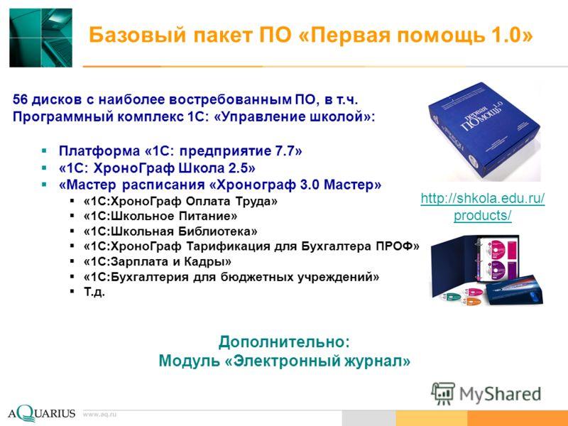 www.aq.ru Базовый пакет ПО «Первая помощь 1.0» 56 дисков с наиболее востребованным ПО, в т.ч. Программный комплекс 1С: «Управление школой»: Платформа «1С: предприятие 7.7» «1С: ХроноГраф Школа 2.5» «Мастер расписания «Хронограф 3.0 Мастер» «1С:ХроноГ