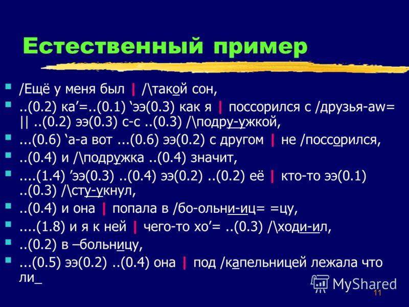 11 Естественный пример /Ещё у меня был | /\такой сон,..(0.2) ка=..(0.1) ээ(0.3) как я | поссорился с /друзья-аw= ||..(0.2) ээ(0.3) с-с..(0.3) /\подру-ужкой,...(0.6) а-а вот...(0.6) ээ(0.2) с другом | не /поссорился,..(0.4) и /\подружка..(0.4) значит,