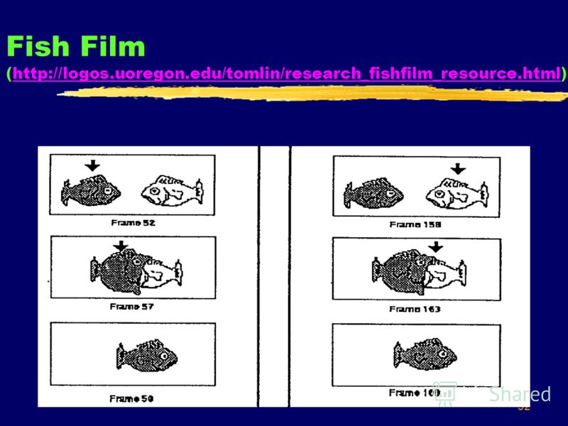 32 Fish Film (http://logos.uoregon.edu/tomlin/research_fishfilm_resource.html)http://logos.uoregon.edu/tomlin/research_fishfilm_resource.html