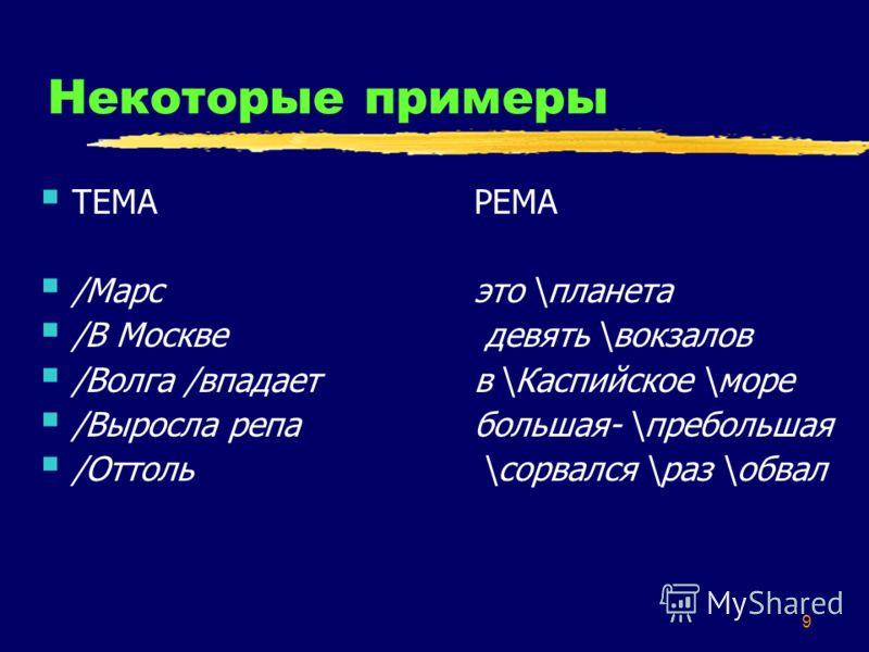 9 Некоторые примеры ТЕМАРЕМА /Марсэто \планета /В Москве девять \вокзалов /Волга /впадаетв \Каспийское \море /Выросла репабольшая- \пребольшая /Оттоль \сорвался \раз \обвал