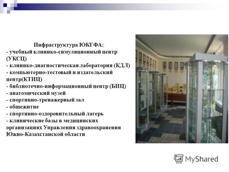 Инфраструктура ЮКГФА: - учебный клинико-симуляционный центр (УКСЦ) - клинико-диагностическая лаборатория (КДЛ) - компьютерно-тестовый и издательский центр(КТИЦ) - библиотечно-информационный центр (БИЦ) - анатомический музей - спортивно-тренажерный за