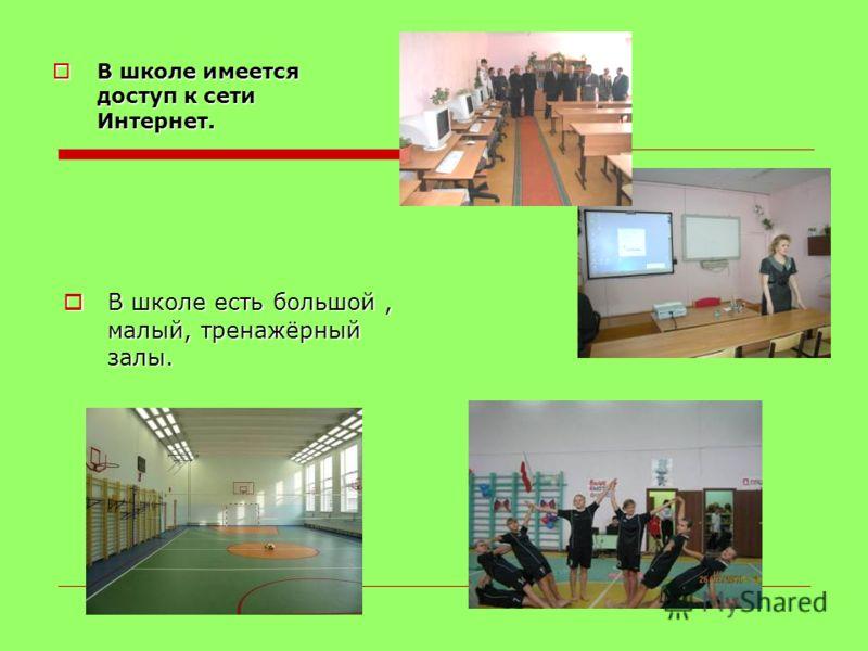 В школе имеется доступ к сети Интернет. В школе имеется доступ к сети Интернет. В школе есть большой, малый, тренажёрный залы. В школе есть большой, малый, тренажёрный залы.