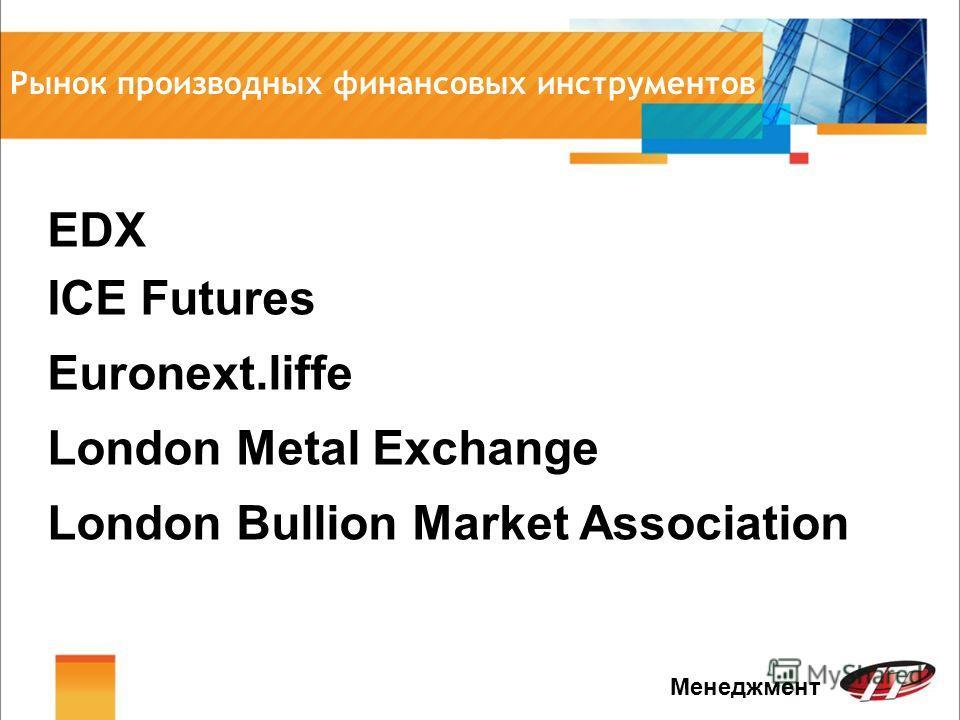 Рынок производных финансовых инструментов Менеджмент Euronext.liffe London Metal Exchange EDX ICE Futures London Bullion Market Association