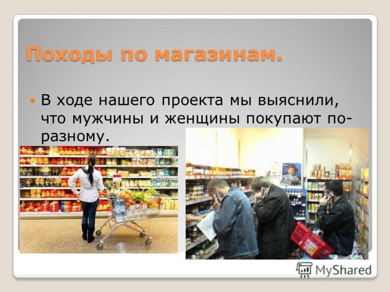Походы по магазинам. В ходе нашего проекта мы выяснили, что мужчины и женщины покупают по- разному.