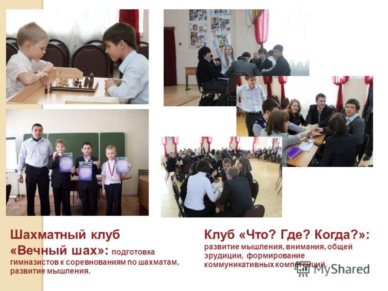 Шахматный клуб «Вечный шах»: подготовка гимназистов к соревнованиям по шахматам, развитие мышления. Клуб «Что? Где? Когда?»: развитие мышления, внимания, общей эрудиции, формирование коммуникативных компетенций.