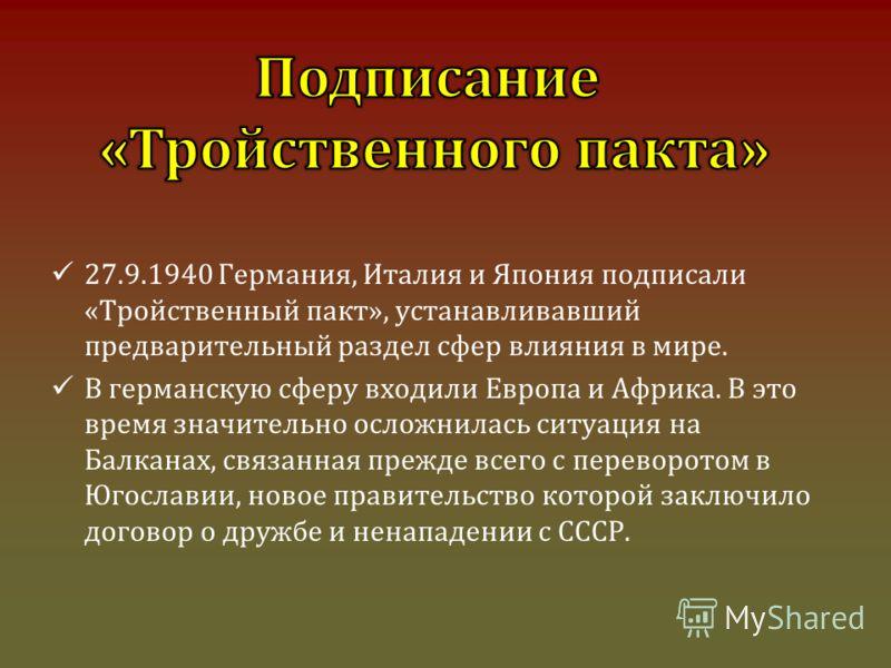 27.9.1940 Германия, Италия и Япония подписали «Тройственный пакт», устанавливавший предварительный раздел сфер влияния в мире. В германскую сферу входили Европа и Африка. В это время значительно осложнилась ситуация на Балканах, связанная прежде всег
