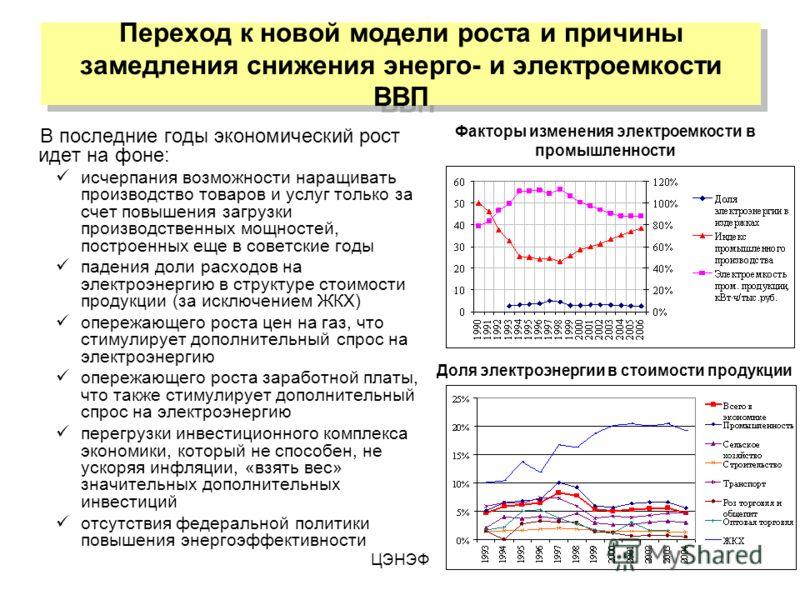 ЦЭНЭФ Переход к новой модели роста и причины замедления снижения энерго- и электроемкости ВВП В последние годы экономический рост идет на фоне: исчерпания возможности наращивать производство товаров и услуг только за счет повышения загрузки производс
