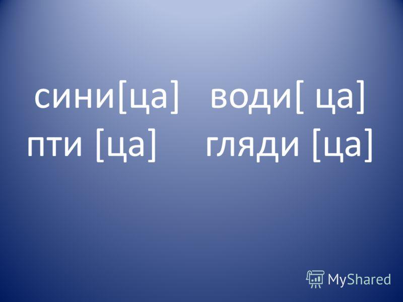 сини[ца] води[ ца] пти [ца] гляди [ца]