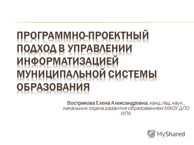 Вострикова Елена Александровна, канд.пед.наук., начальник отдела развития образованием МАОУ ДПО ИПК