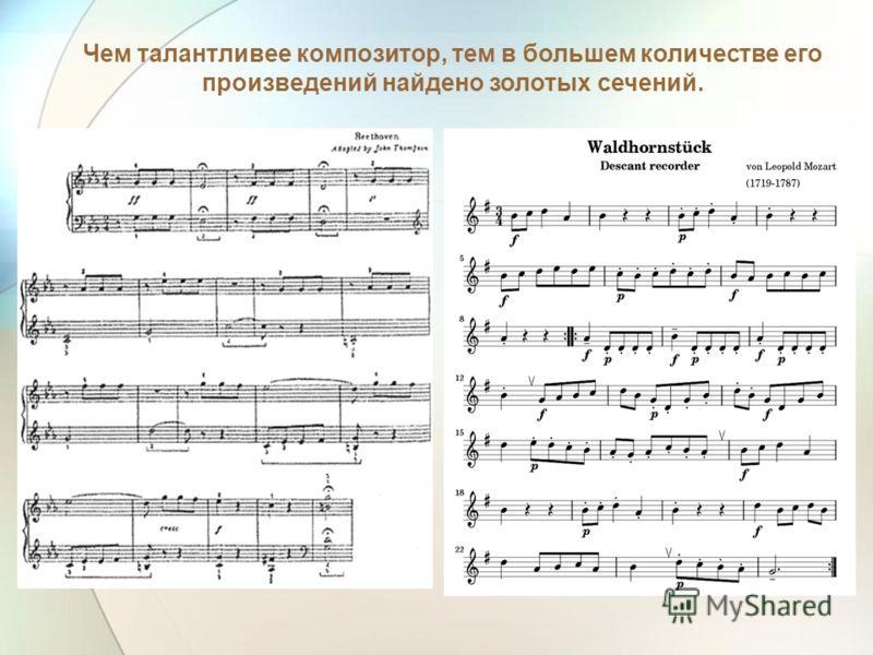 Чем талантливее композитор, тем в большем количестве его произведений найдено золотых сечений.