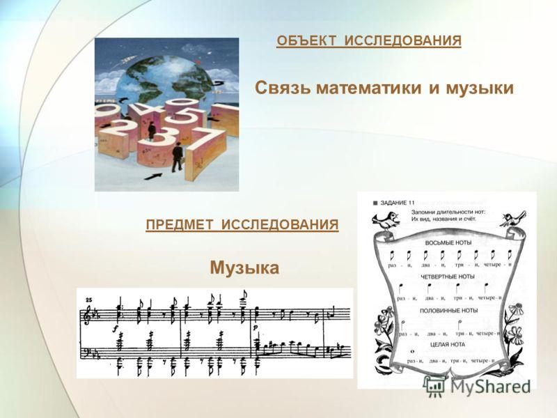 ОБЪЕКТ ИССЛЕДОВАНИЯ ПРЕДМЕТ ИССЛЕДОВАНИЯ Связь математики и музыки Музыка