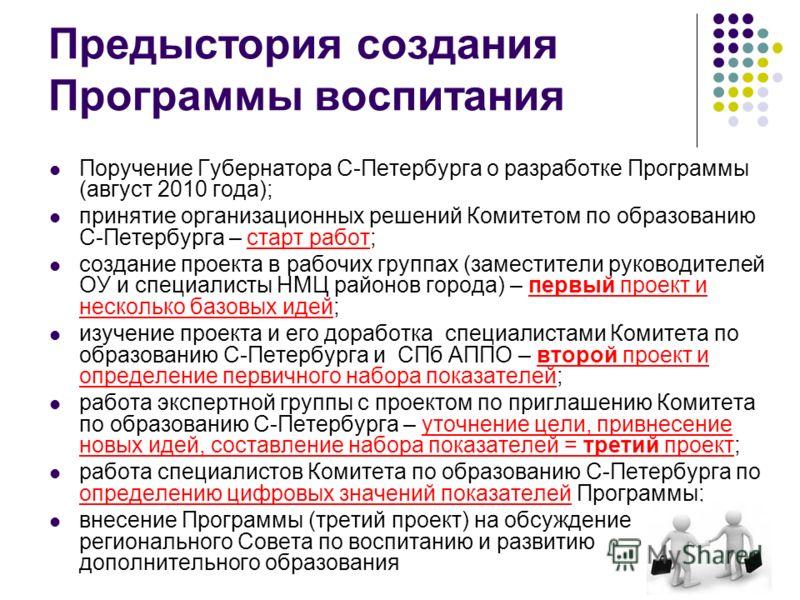 Предыстория создания Программы воспитания Поручение Губернатора С-Петербурга о разработке Программы (август 2010 года); принятие организационных решений Комитетом по образованию С-Петербурга – старт работ; создание проекта в рабочих группах (заместит