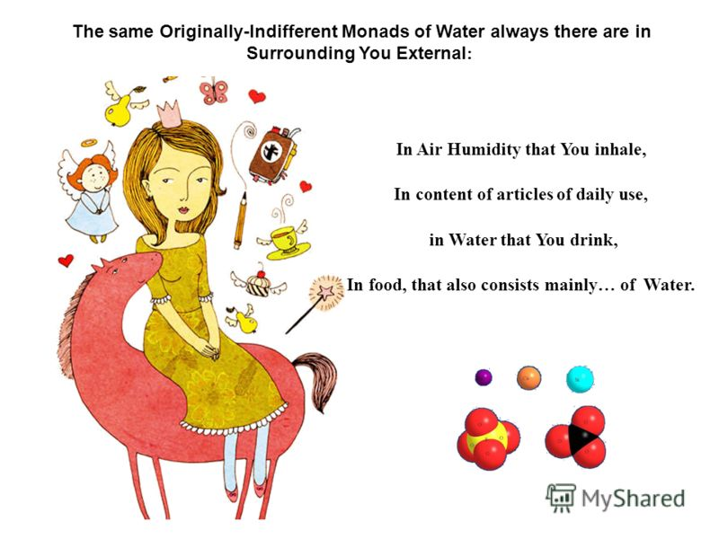 The same Originally-Indifferent Monads of Water always there are in Surrounding You External : In Air Humidity that You inhale, In content of articles of daily use, in Water that You drink, In food, that also consists mainly… of Water.
