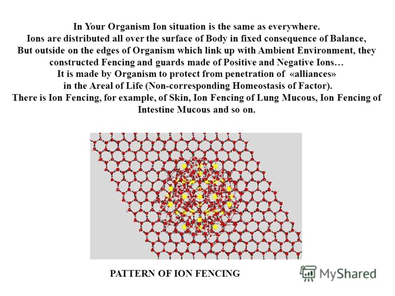 In Your Organism Ion situation is the same as everywhere. Ions are distributed all over the surface of Body in fixed consequence of Balance, But outside on the edges of Organism which link up with Ambient Environment, they constructed Fencing and gua