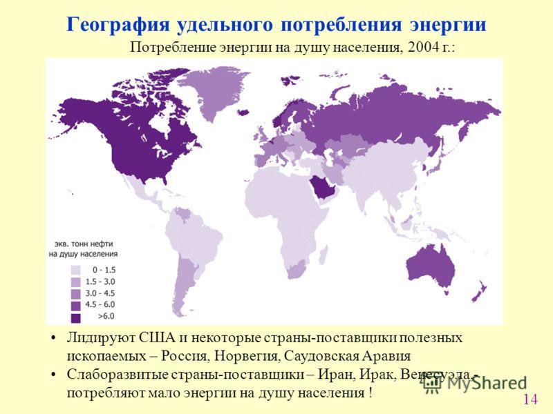 14 География удельного потребления энергии Потребление энергии на душу населения, 2004 г.: Лидируют США и некоторые страны-поставщики полезных ископаемых – Россия, Норвегия, Саудовская Аравия Слаборазвитые страны-поставщики – Иран, Ирак, Венесуэла,-