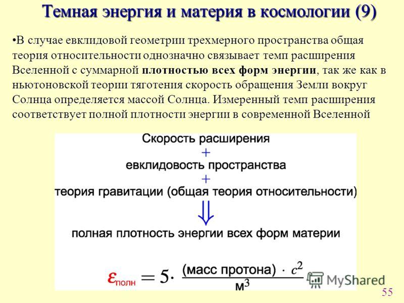 55 Темная энергия и материя в космологии (9) В случае евклидовой геометрии трехмерного пространства общая теория относительности однозначно связывает темп расширения Вселенной с суммарной плотностью всех форм энергии, так же как в ньютоновской теории