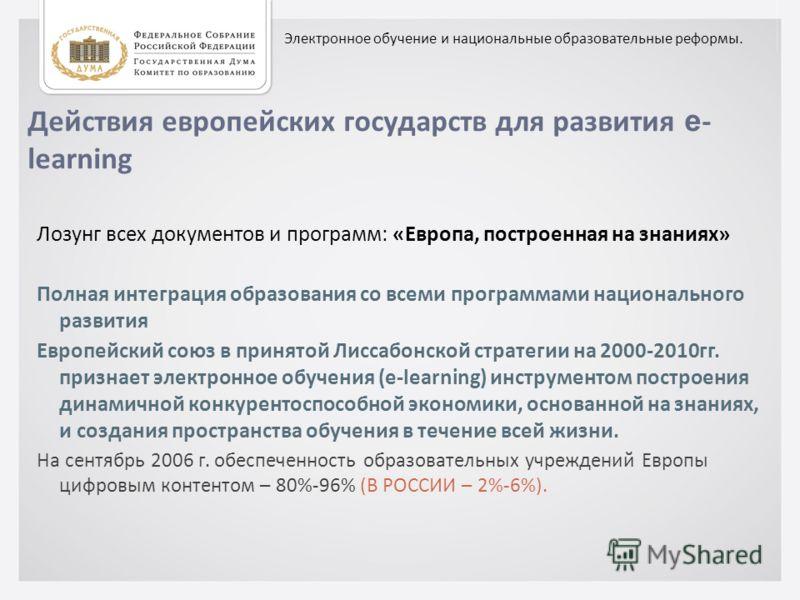Действия европейских государств для развития e - learning Лозунг всех документов и программ: «Европа, построенная на знаниях» Полная интеграция образования со всеми программами национального развития Европейский союз в принятой Лиссабонской стратегии