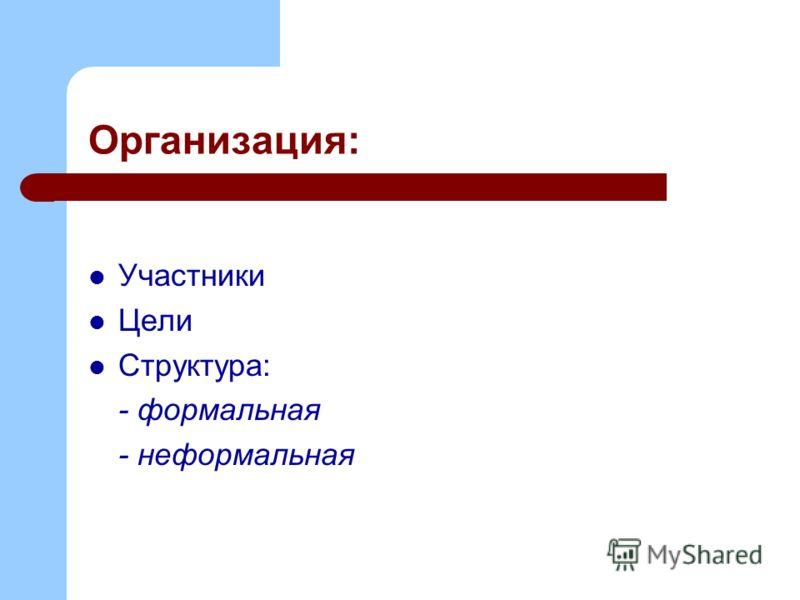 Организация: Участники Цели Структура: - формальная - неформальная