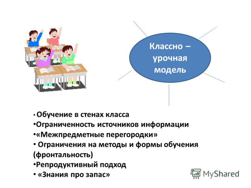 Классно – урочная модель Обучение в стенах класса Ограниченность источников информации «Межпредметные перегородки» Ограничения на методы и формы обучения (фронтальность) Репродуктивный подход «Знания про запас»