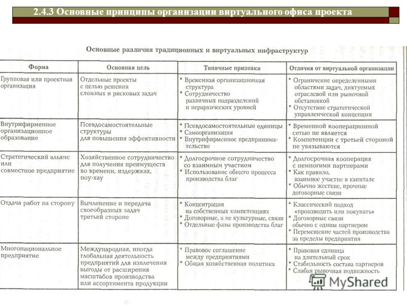 2.4.3 Основные принципы организации виртуального офиса проекта