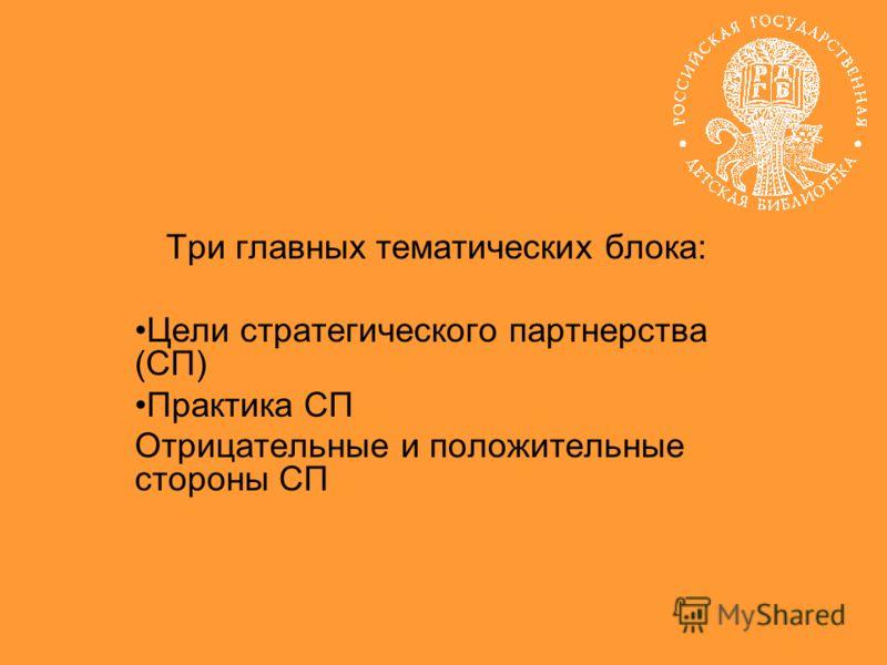 Три главных тематических блока: Цели стратегического партнерства (СП) Практика СП Отрицательные и положительные стороны СП