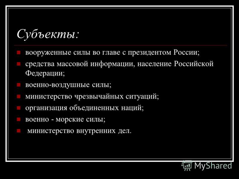 Процесс предотвращения террактов в Российской Федерации. Объект: