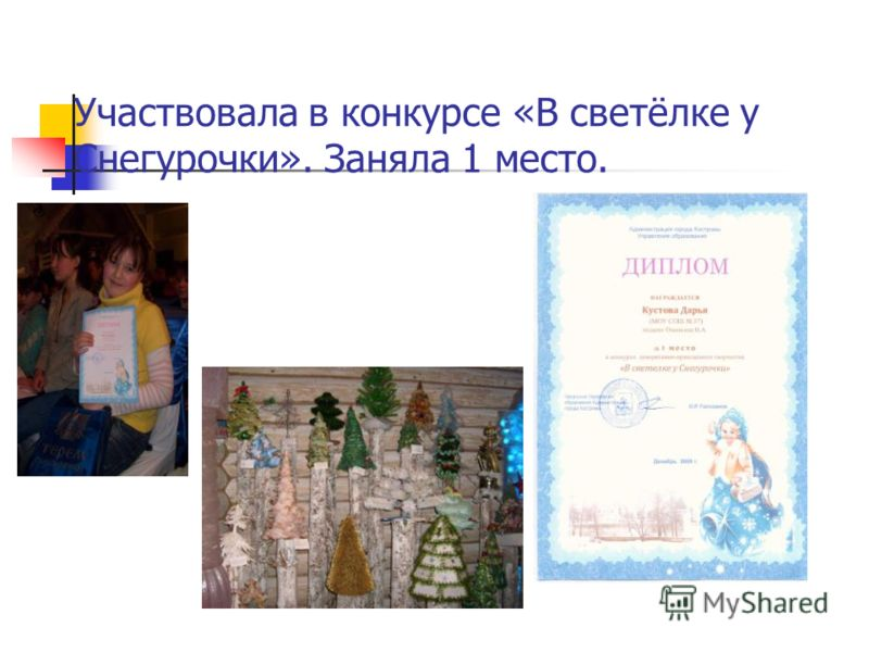 Участвовала в конкурсе «В светёлке у Снегурочки». Заняла 1 место.