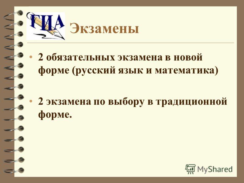 Экзамены 2 обязательных экзамена в новой форме (русский язык и математика) 2 экзамена по выбору в традиционной форме.