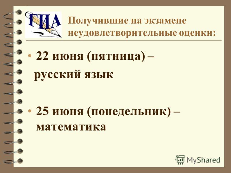 Получившие на экзамене неудовлетворительные оценки: 22 июня (пятница) – русский язык 25 июня (понедельник) – математика