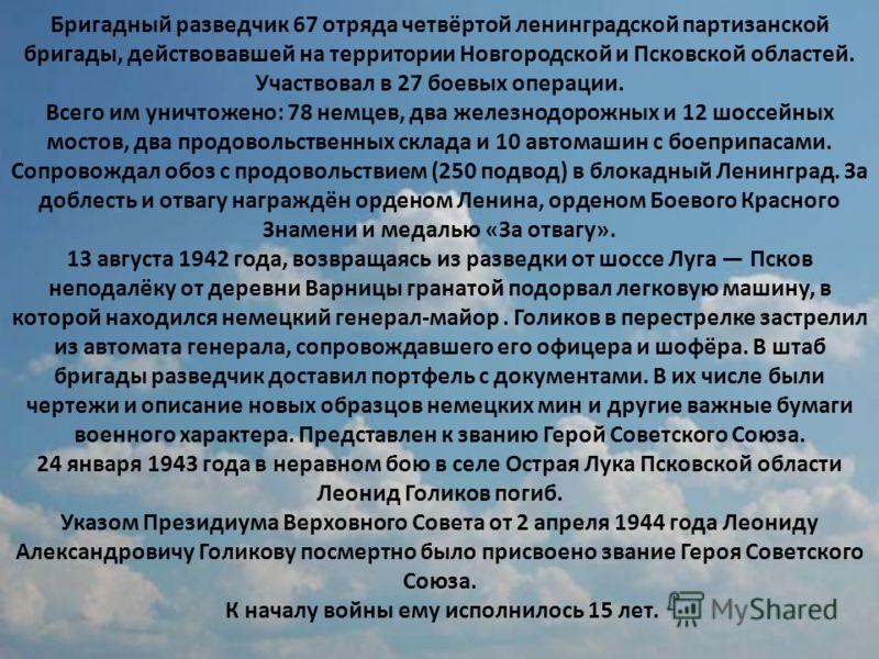 Бригадный разведчик 67 отряда четвёртой ленинградской партизанской бригады, действовавшей на территории Новгородской и Псковской областей. Участвовал в 27 боевых операции. Всего им уничтожено: 78 немцев, два железнодорожных и 12 шоссейных мостов, два