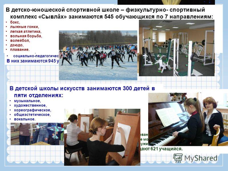 В Доме детского творчества функционирует 49 кружков по 7 направлениям: спортивно-техническое, эколого-биологическое, туристко-краеведческое, художественно-эстетическое, физкультурно-спортивное, военно-патриотическое, социально-педагогическое. В них з