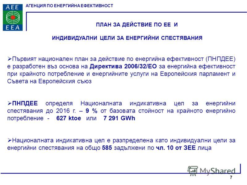 АГЕНЦИЯ ПО ЕНЕРГИЙНА ЕФЕКТИВНОСТ ПЛАН ЗА ДЕЙСТВИЕ ПО ЕЕ И ИНДИВИДУАЛНИ ЦЕЛИ ЗА ЕНЕРГИЙНИ СПЕСТЯВАНИЯ Първият национален план за действие по енергийна ефективност (ПНПДЕЕ) е разработен въз основа на Директива 2006/32/ЕО за енергийна ефективност при кр