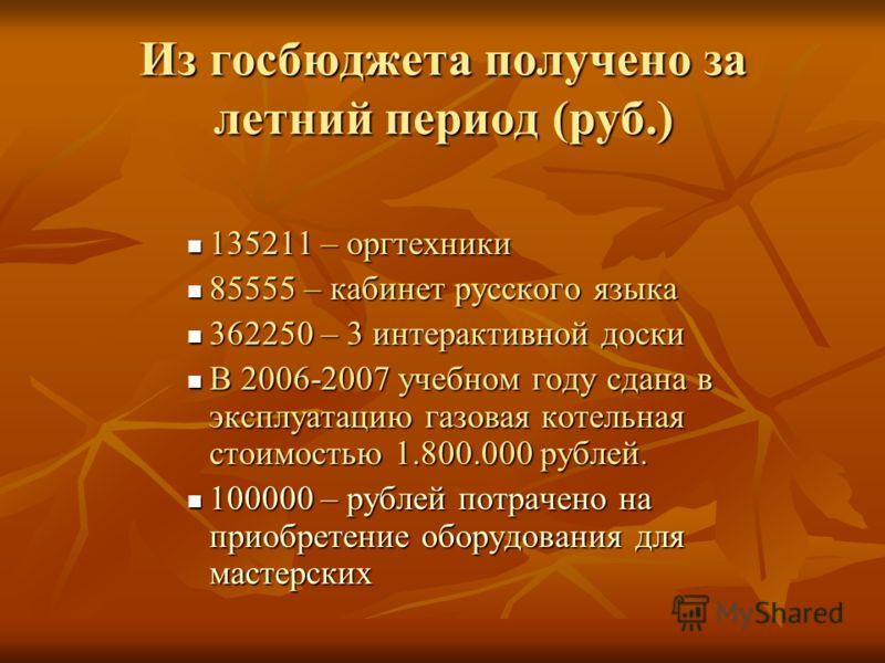 Из госбюджета получено за летний период (руб.) 135211 – оргтехники 135211 – оргтехники 85555 – кабинет русского языка 85555 – кабинет русского языка 362250 – 3 интерактивной доски 362250 – 3 интерактивной доски В 2006-2007 учебном году сдана в эксплу