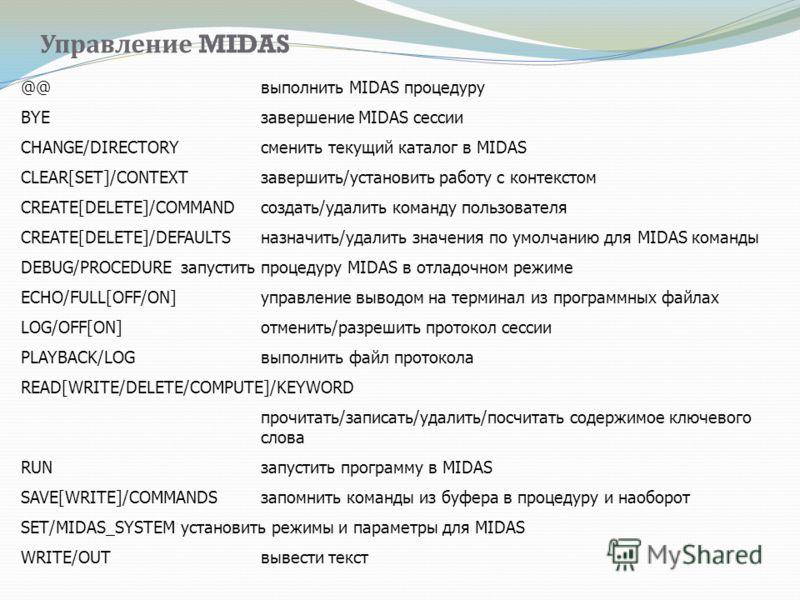 Управление MIDAS @@ выполнить MIDAS процедуру BYE завершение MIDAS сессии CHANGE/DIRECTORY сменить текущий каталог в MIDAS CLEAR[SET]/CONTEXT завершить/установить работу с контекстом CREATE[DELETE]/COMMAND создать/удалить команду пользователя CREATE[