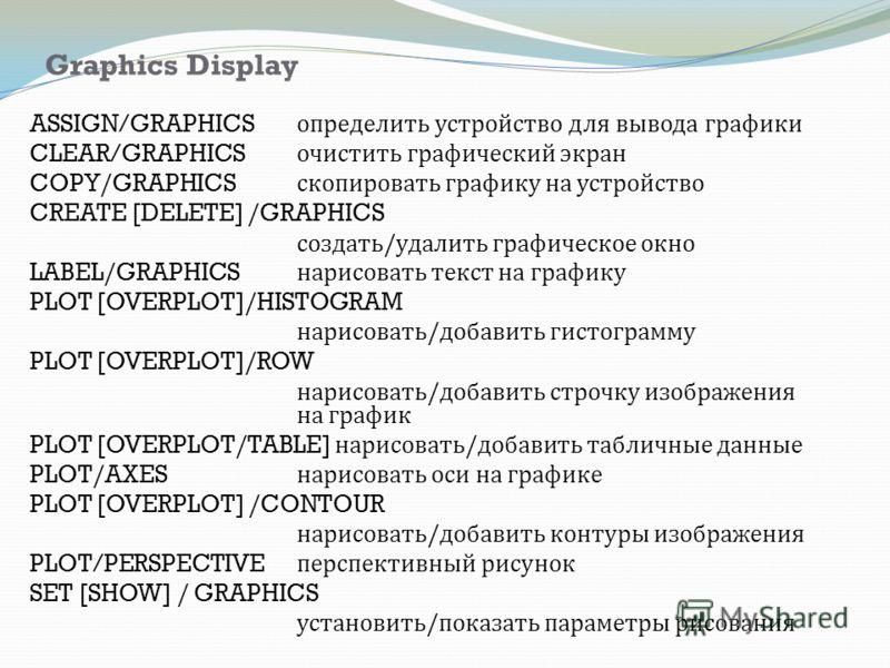 Graphics Display ASSIGN/GRAPHICS определить устройство для вывода графики CLEAR/GRAPHICS очистить графический экран COPY/GRAPHICS скопировать графику на устройство CREATE [DELETE] /GRAPHICS создать / удалить графическое окно LABEL/GRAPHICS нарисовать