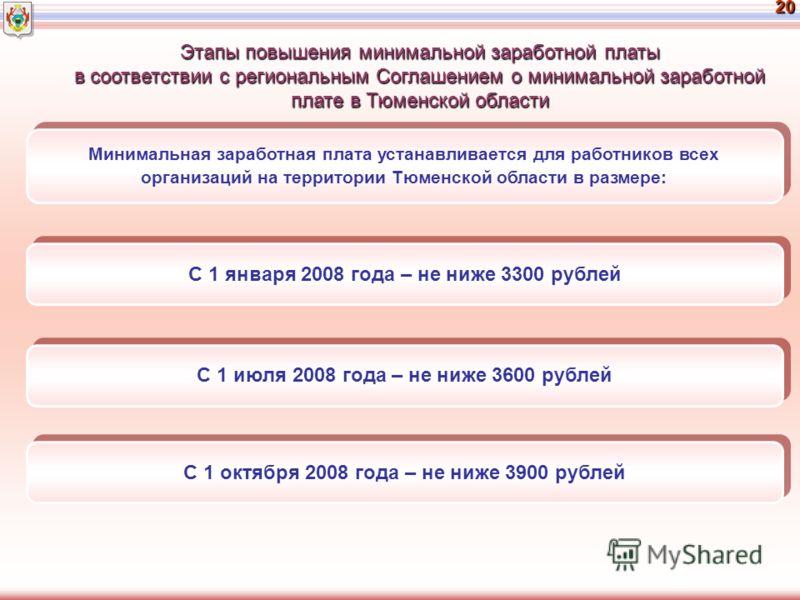 20 С 1 января 2008 года – не ниже 3300 рублей С 1 июля 2008 года – не ниже 3600 рублей Минимальная заработная плата устанавливается для работников всех организаций на территории Тюменской области в размере: С 1 октября 2008 года – не ниже 3900 рублей