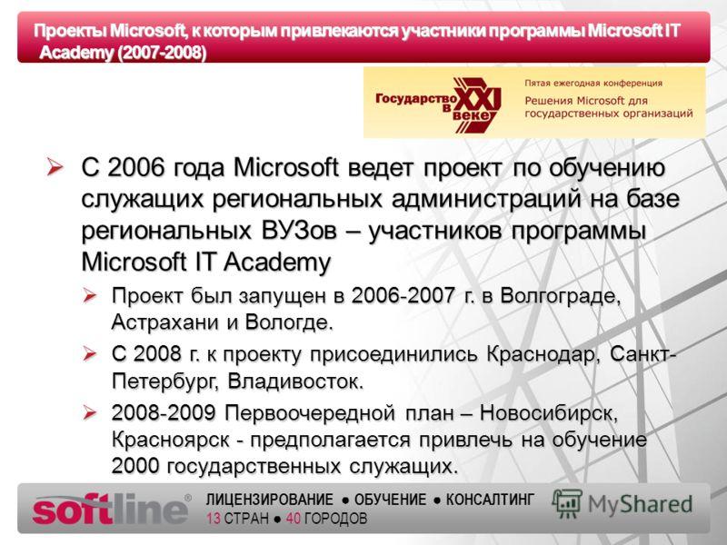 Оазец заголовка ЛИЦЕНЗИРОВАНИЕ ОБУЧЕНИЕ КОНСАЛТИНГ 13 СТРАН 40 ГОРОДОВ Проекты Microsoft, к которым привлекаются участники программы Microsoft IT Academy (2007-2008) С 2006 года Microsoft ведет проект по обучению служащих региональных администраций н