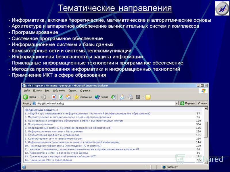 Тематические направления - Информатика, включая теоретические, математические и алгоритмические основы - Архитектура и аппаратное обеспечение вычислительных систем и комплексов - Программирование - Системное программное обеспечение - Информационные с