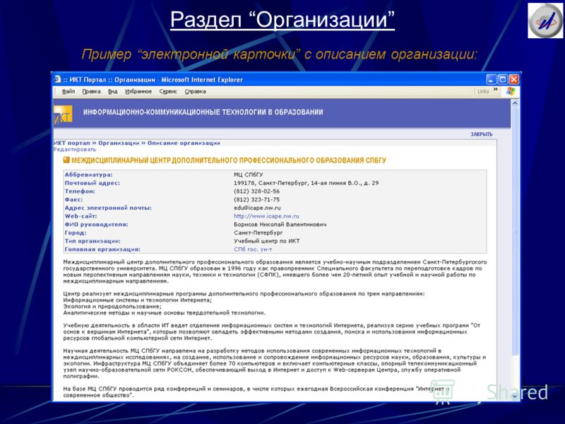 Раздел Организации Пример электронной карточки c описанием организации:
