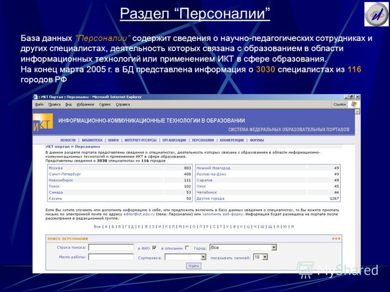 Раздел Персоналии База данных