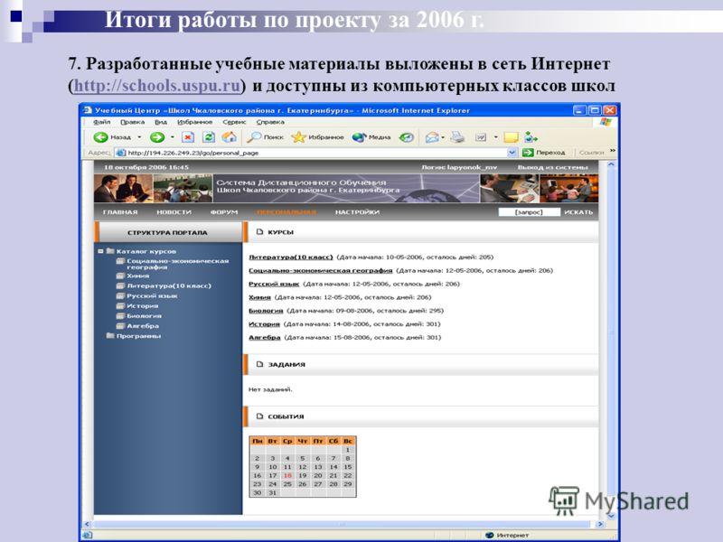 7. Разработанные учебные материалы выложены в сеть Интернет (http://schools.uspu.ru) и доступны из компьютерных классов школhttp://schools.uspu.ru Итоги работы по проекту за 2006 г.